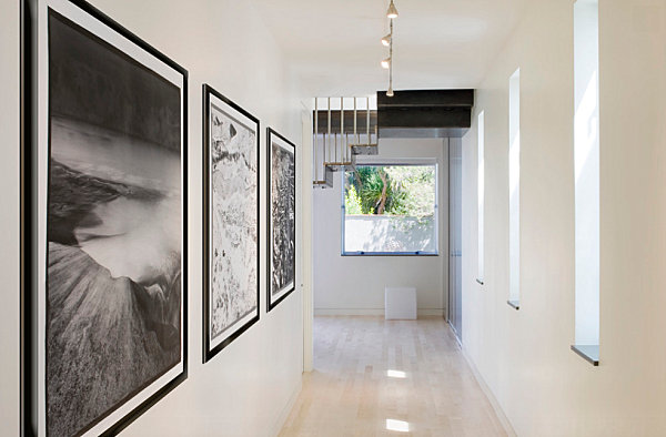 modern hallway with artworks