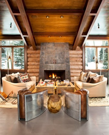 Perfectly symmetrical modern lodge interior