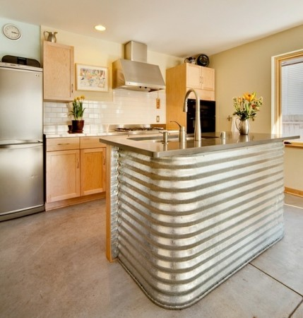 Corrugated metal kitchen island