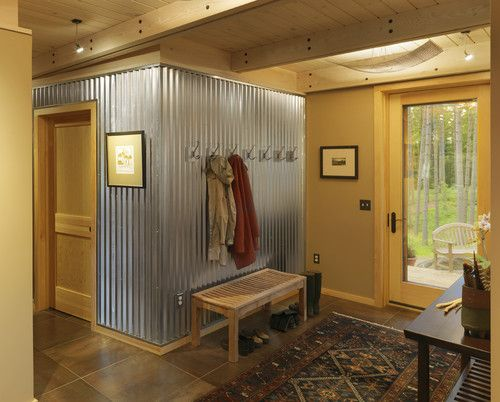 Corrugated metal wall in entryway