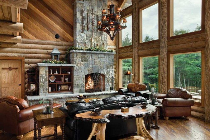 Gorgeous windows, wood and stone accents highlight this lodge interior