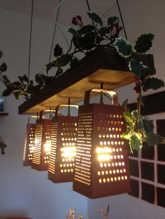 recycled graters used for DIY chandeliers