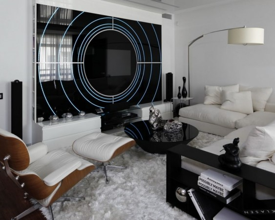 Black and white interior is modern and chic