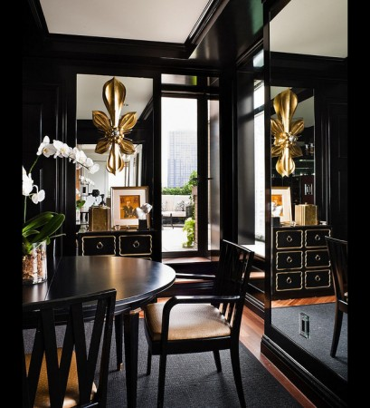 Black and gold interior is elegant