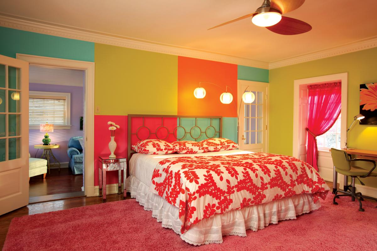 vibrant colors highlight this teenage girl 39 s bedroom