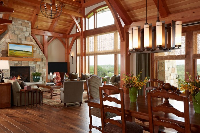 Lodge interior style is warm wood, cozy seating areas and vast views