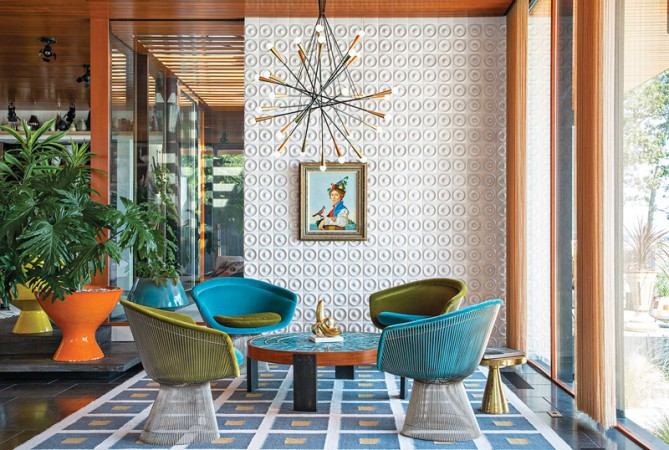 Jonathan Adler interior design is mid-century modern and rich with color