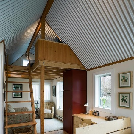 Corrugated metal ceiling adds interest