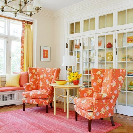 Beautiful citrus colors burst with life in this living room