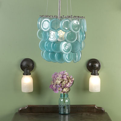Nice Repurposed Colanders As Light Fixtures (ecarlateblush) Mason Jars Are  Repurposed Into A Charming Chandelier Images