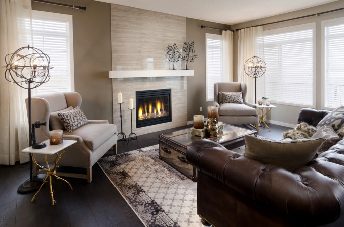 A warm fire enhances this relaxing living room