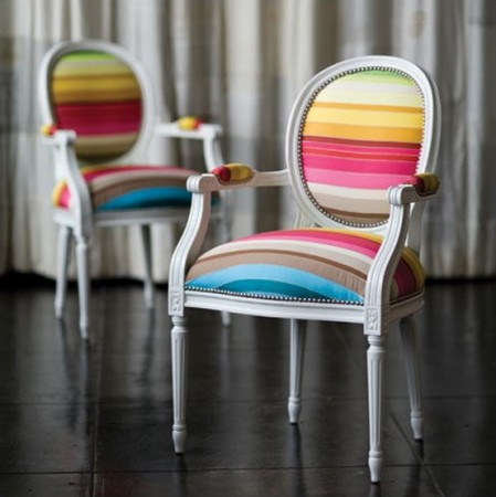 A pair of Louis XVI chairs get a modern update with fabric