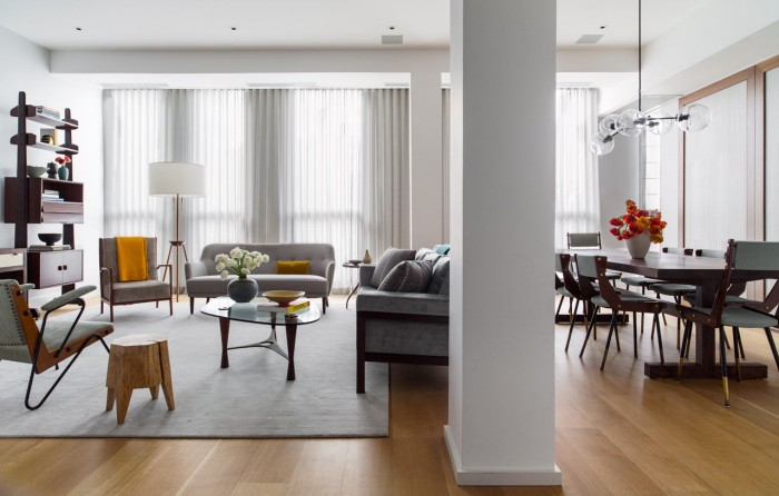Open floor styling in this city apartment