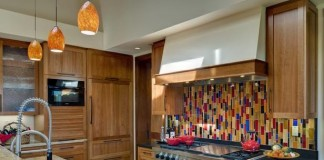 Colorful tile backsplash