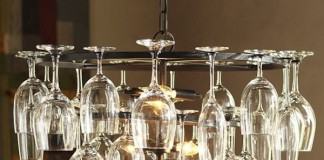 Lighting fixture repurposed from wine glasses