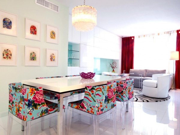 Beautiful and colorful upholstered dining chairs