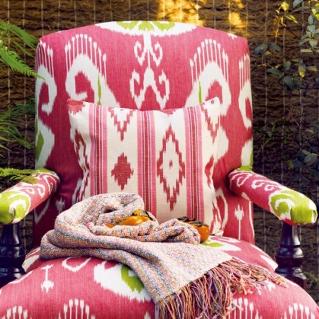 Modern Ikat print enlivens this classic chair