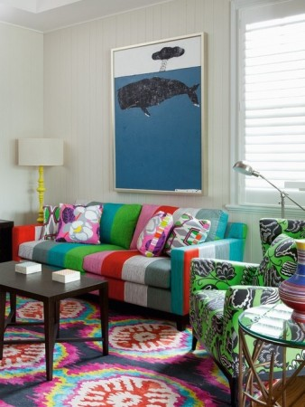 A mix of stripes and patterns gives this living room energy