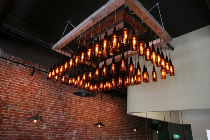 ... Bottles Transformed Into A Repurposed Light Fixture