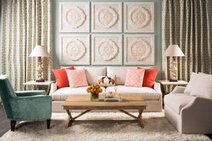 Fresh colors mingle with winter white for a cozy living room