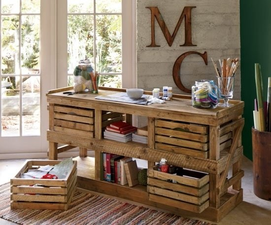 Wood crates repurposed into a desk or craft work center