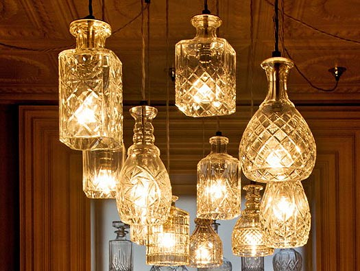 Amazing ... Crystal Decanters Make Stunning Repurposed Light Fixtures