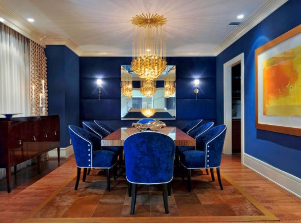 Vivid blue dining room