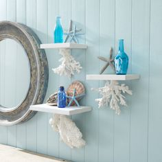 Bathroom shelving with seashells, coral, and bottles (evangels).