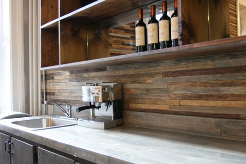 Wooden plank back-splash (pinterest).