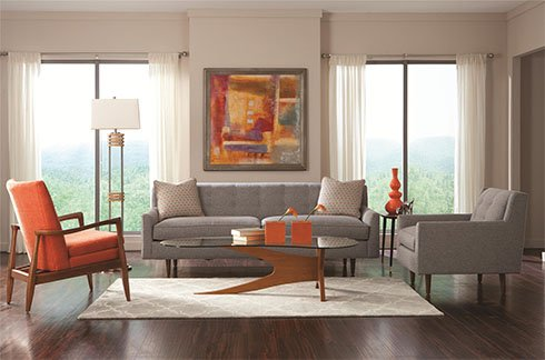 Mid-Century Modern living room (belfortfurniturebuzz).