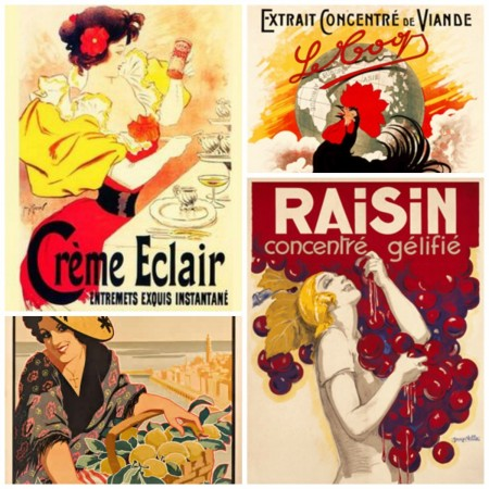 Various French food posters for the bistro style kitchen