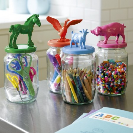 Colorful jar tops using old toys