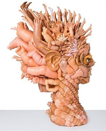 Sculpture using doll parts
