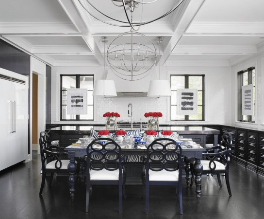 Dramatic dining room designed by Megan Winters