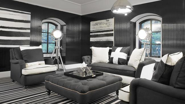Black and white interior designed by Megan Winters