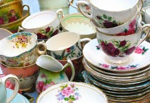 Vintage teacups and saucers.