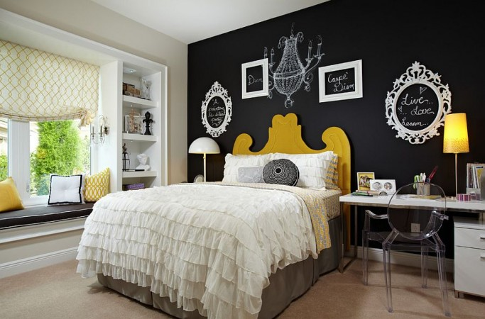 Chalkboard paint lets artistic expression reign in this bedroom design