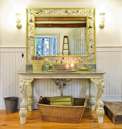 Decorative table repurposed as bathroom vanity