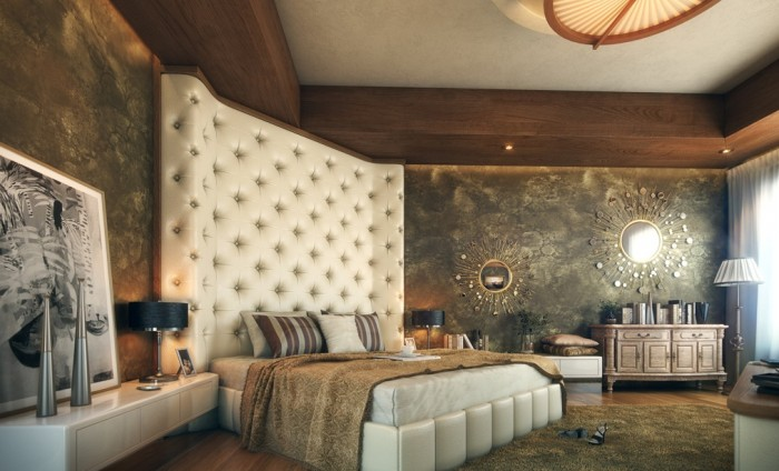 A lavish headboard takes center stage in this bedroom design