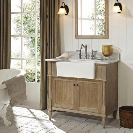 Rustic bathroom vanity with apron sink