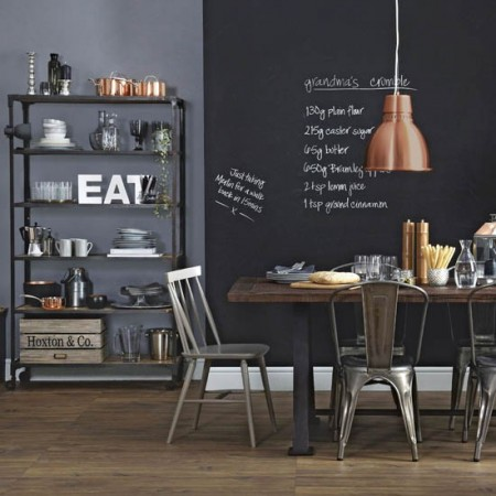 Chalkboards figure prominently in the bistro styled kitchen