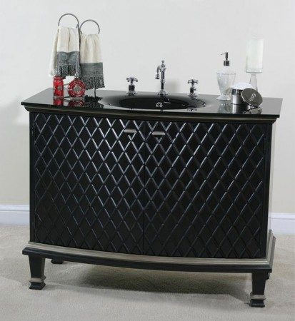 Richly textured bathroom vanity