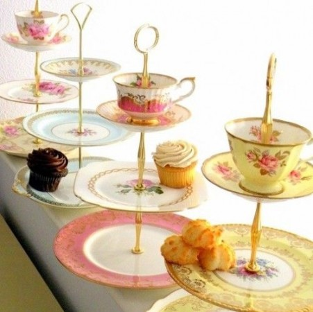 3 tiered afternoon tea stands made from teacups, saucers, and plates.