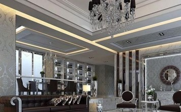 Blacks, Whites, and Silvers make this room a very modern example of Art Deco.
