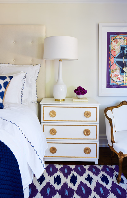 AFTER: Gold and white nightstand (theworldaccordingtojessicaclaire).
