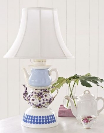 Tea set fashioned into a lamp.