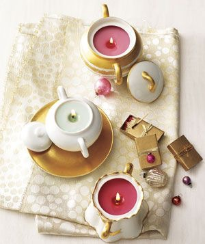 Candles made from teacups.