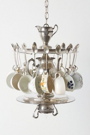 Teacups and teaspoons come together to make an interesting chandelier.