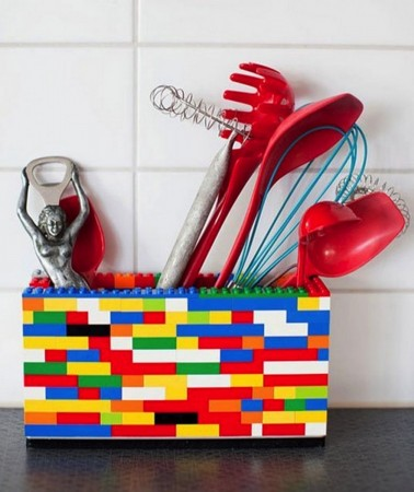Utensil holder using old toys