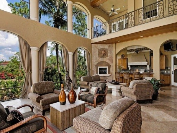 Luxury indoor outdoor rooms Luxury fireplaces luxury homes